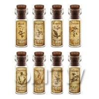 Dolls House Apothecary Short Herb Sepia Label And Bottle Set 4