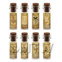 Dolls House Apothecary Short Herb Sepia Label And Bottle Set 5
