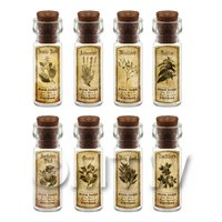 Dolls House Apothecary Short Herb Sepia Label And Bottle Set 6