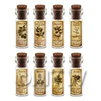 Dolls House Apothecary Short Herb Sepia Label And Bottle Set 7