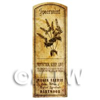 Dolls House Herbalist/Apothecary Spearmint Herb Long Sepia Label