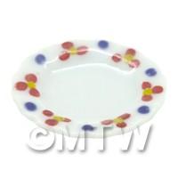 Dolls House Miniature Flower Design 20mm Ceramic Round Plate
