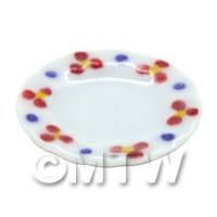 Dolls House Miniature Flower Design 22mm Ceramic Round Plate