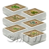 Dolls House Herbalist/Apothecary Square Herb Box Set 4