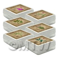 Dolls House Herbalist/Apothecary Square Herb Box Set 5