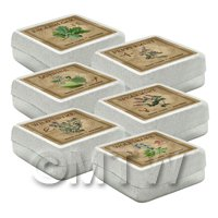 Dolls House Herbalist/Apothecary Square Herb Box Set 6