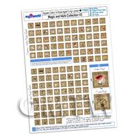 Dolls House Full Set of 120 Square Fungi / Mushroom Labels A4 Value Sheet