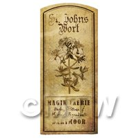 Dolls House Herbalist/Apothecary St Johns Wort Herb Short Sepia Label