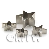 Dolls House Miniature - Set of 4 Different Sized Star Shaped Sugarcraft / Clay Cutters