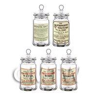 Set of 5 Miniature Glass Apothecary Storage Jar
