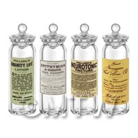 Dolls House Miniature - Set of 4 Miniature Glass Apothecary Storage Jar