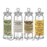 Set of 4 Miniature Glass Apothecary Storage Jar