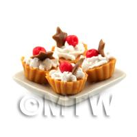 4 Dolls House Cherry and Chocolate Star Tarts on a 19mm Square Plate