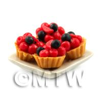 4 Dolls House Miniature Very Berry Tarts on a 19mm Square Plate