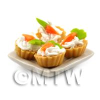 4 Dolls House Miniature Fondant Carrot Tarts on a 19mm Square Plate