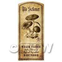 Dolls House Miniature Apothecary The Sickener Fungi Label