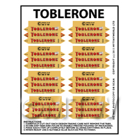 Dolls House Miniature Packaging Sheet of 8 Toblerone Boxes