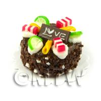 Dolls House Miniature 25mm Chocolate Love Cake