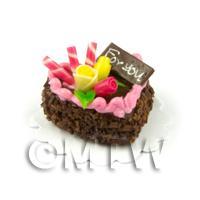 Dolls House Miniature 22mm Chocolate Heart Cake