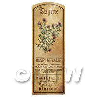 Dolls House Herbalist/Apothecary Thyme Herb Long Colour Label