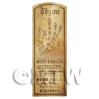 Dolls House Herbalist/Apothecary Thyme Plant Herb Long Sepia Label
