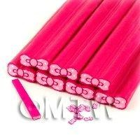 1/12th scale Unbaked Pink Bow Cane Nail Art And Jewelry UNC65