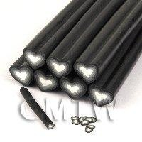 Unbaked Black Heart Cane Nail Art And Jewellery UNC69