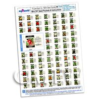 Dolls House Complete Set of 75 Vegetable Seed Packets A4 Value sheet