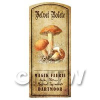 Dolls House Miniature Apothecary Velvet Bolete Fungi Colour Label