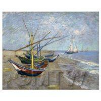 Van Gogh Painting Fishing Boats on the Beach of St. Maries