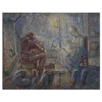 Van Gogh Painting Working by Night