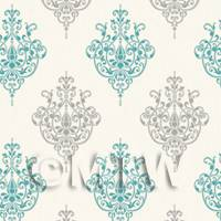 Dolls House Miniature Teal Heraldic Diamond Wallpaper