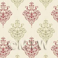 Dolls House Miniature Red And Sage Heraldic Diamond Wallpaper