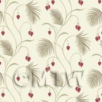 Dolls House Miniature Styalised Fern With Red Flowers Wallpaper