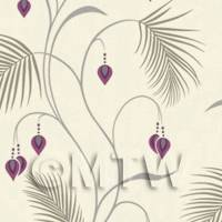 Dolls House Miniature Large Fern With Purple Flowers Wallpaper