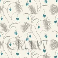 Dolls House Miniature Styalised Fern With Teal Flowers Wallpaper