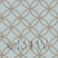 Dolls House Miniature Gold On Blue Circles Wallpaper