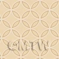 Dolls House Miniature Styalised Circles On Beige Wallpaper
