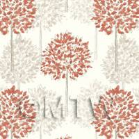Dolls House Miniature Styalised Red Trees Wallpaper
