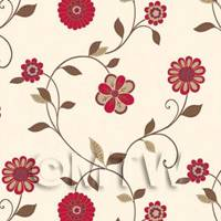 Dolls House Miniature Mixed Red Flower Wallpaper