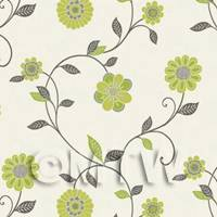 Dolls House Miniature Mixed Sage Green Flower Wallpaper