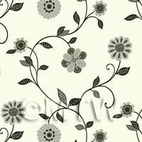 Dolls House Miniature Mixed Grey And Blacks Flowers Wallpaper