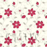 Dolls House Miniature 6 Petal Red Flower Wallpaper