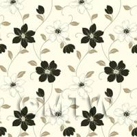 Dolls House Miniature 6 Petal Black Flower Wallpaper