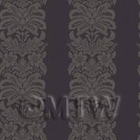 Dolls House Miniature Pale Gold Floral Stripes Wallpaper