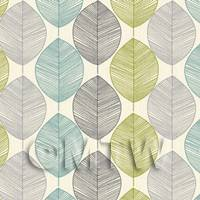 Dolls House Miniature Green And Blue Leaf Wallpaper