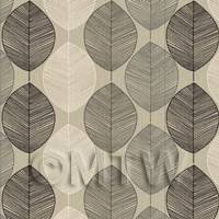 Dolls House Miniature Black And Grey Leaf Wallpaper