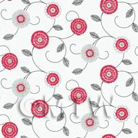 Dolls House Miniature Round Red And White Flower Wallpaper