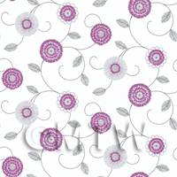 Dolls House Miniature Round Purple And White Flower Wallpaper