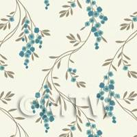 Dolls House Miniature Hanging Blue Flower Wallpaper
